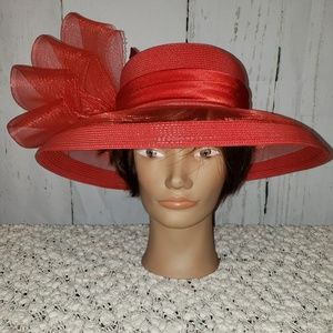 Scala Derby red hat with bow details